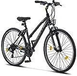 Licorne Bike Vélo de randonnée premium 28 pouces - Vélo pour garçons, filles, femmes et hommes - Dérailleur Shimano 21 vitesses - VTT - Cross - Life-L-V - Noir/gris