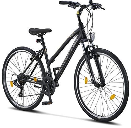 Licorne Bike Bicicleta de trekking prémium de 28 pulgadas, para niños, niñas, mujeres y hombres, cambio Shimano de 21 velocidades, bicicleta de montaña, cross, Life-L-V, color negro y gris