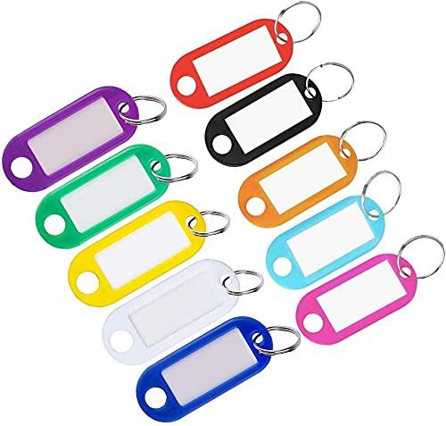 Xchmtech 10 etiquetas de plástico para llaves con anillo dividido, 10 colores, etiquetas de identificación, llavero para equipaje, nombre de mascota