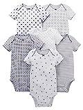 Simple Joys by Carter's Baby Girls' 6-Pack Short-Sleeve Bodysuit, Black/White, 12 Months