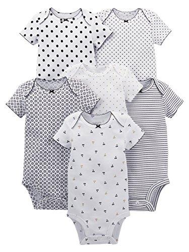 Simple Joys by Carter's Baby Girls' 6-Pack Short-Sleeve Bodysuit, Black/White, 0-3 Months
