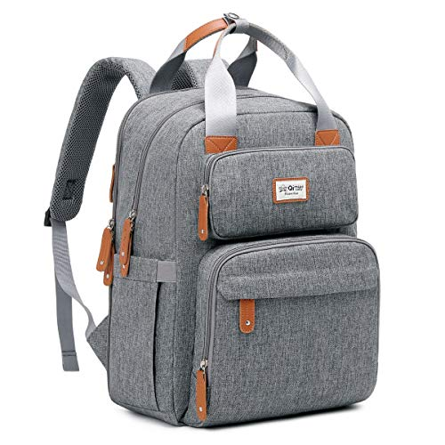 QIMIAOBABY Diaper Bag Backpack, Multifunctional Travel Backpack, Maternity Baby Changing Bag, Large Capacity, Waterproof Fashionable Mommy Bag (Gray)