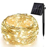 Solar String Lights, 2 Pack 33Ft 100 LED Solar Fairy Lights Outdoor Waterproof, 8 Twinkling Modes for Christmas Party Tree Wedding Patio Garden Yard (Warm White)