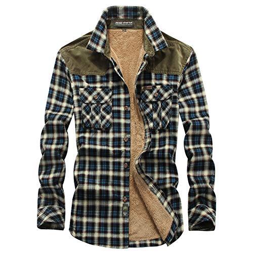 Hombres Camisas Casual,Chaqueta de Transición a Cuadros,Camisa Térmica Invierno Camisa de Cuadros Leñador,Camisas Manga Larga Franela a Botón