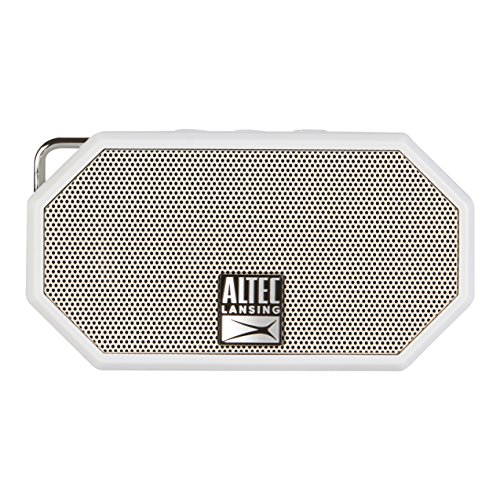 Altec Lansing Mini H2O - Wireless, Bluetooth, Waterproof Speaker, Floating, IP67, Portable Speaker, Strong Bass, Rich Stereo System, Microphone, 30 ft Range, Lightweight, 6-Hour Battery, (White)