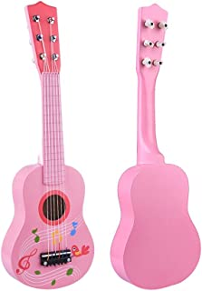RuiyiF Kids Guitar for Girls Boys Beginners, Toddler Guitar Pink 6 String Toy Acoustic Guitar for Kids Ages 3-5 (21 Inch)