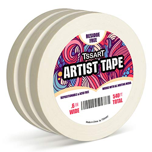 TSSART 3 Pack White Artist Tape - Masking Artists Tape for Drafting Art Watercolor Painting Canvas Framing - Acid Free 0.6inch Wide 540FT Long Total