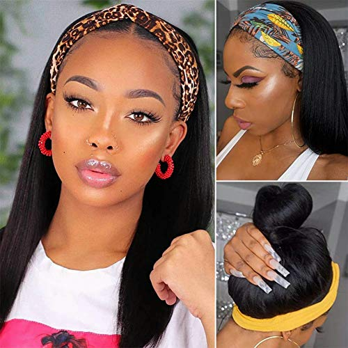 Straight Headband Wigs for Black Women Human Hair Machine Made Wigs Glueless None Lace Front Wigs Human Hair Wigs with Headband 16inch