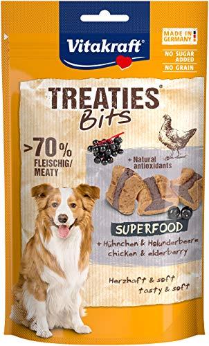 Vitakraft - Treaties bits Superfood, Snacks Horneados para Perros, Variedad Carne y Bayas de Saúco - 100 g
