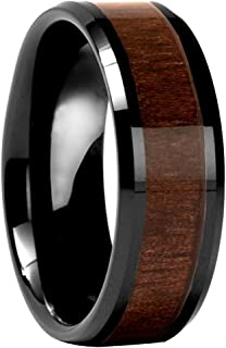 Thorsten Halifax Beveled with Black Walnut Wood Inlay Tungsten Carbide Ring 12mm Wide Wedding Band from Roy Rose Jewelry