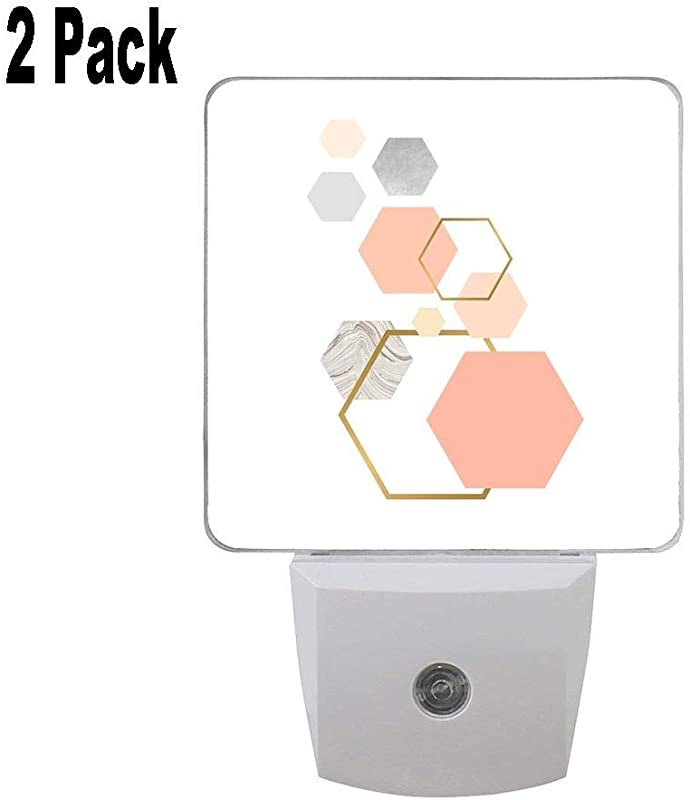 Pink Grey Gold And Marble Geometric Design Personalized Premium 2 Pack Led Night Light Auto Senor Dusk To Dawn Night Lights Plug In For Kids Baby Girls Boys Adults Room And More