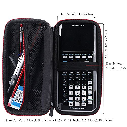 Hard Protective Carry Case for Texas Instruments TI-83 Plus Texas Instruments TI-84 Plus CE Graphing Calculator (Black+Red) Photo #3