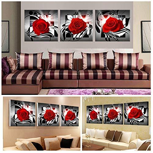 WSNDG Modern decoratief schilderen, drievoudige roze, hoofddecoratie, geen fotolijst 30 * 30cm*3(no frame) A1.