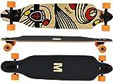 MAXOfit Longboard Tres Cruces DropThrough Freeride Board 104 cm, 9 capas de arce, ABEC 11 y ejes de aluminio