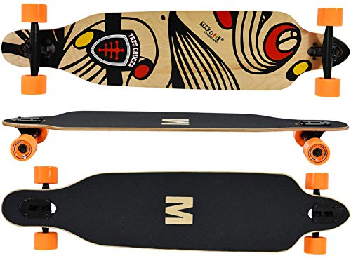 MAXOfit - Tavola longboard Tres Cruces DropThrough Freeride, 104 cm, 9 strati di acero, ABEC 11 e assi in alluminio