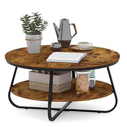 Elephance Round Coffee Table with Storage, 35.8 Inch Rustic Wood Coffee Table with Strong Metal Frame for Living Room, Dining Room, Cocktail Table, Round Sofa Table (Almond)