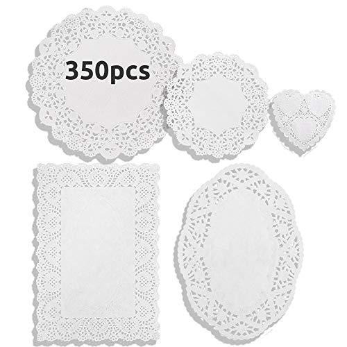 DailyTreasures 350 Pcs Lace Paper Deckchen 6 Formiger Untersetzer Deckchen Kuchen, Rund Oval Rechteck Herz Papierdeckchen Spitze, 6 Größe Papier Spitzendeckchen für Papierdeckchen
