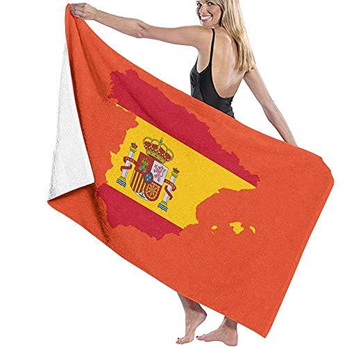 Abel Berth Mapa de la Bandera de España Unisex Toalla de baño Toalla de Viaje de Microfibra Suave para Adultos Toallas de Playa Impresas