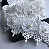 HHTCAL Lace Ribbon Trim Fabric by The Yard Wide Beaded White Sewing Lace for Crafts Edge Trim & Embellishments Pearl Decorations Crochet Flowers (2Yards)