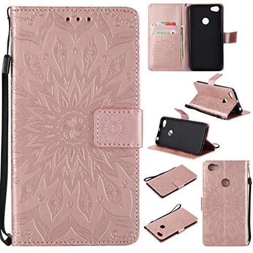 Ycloud Billetera Funda para Xiaomi Redmi Note 5A Prime/Redmi Note 5A Smartphone, PU Cuero Flip Magnético Carcasa con Soporte Función y Ranura para Tarjeta Flor del Sol Relieve (Oro Rosa)