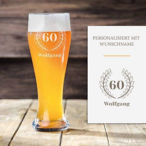 Smyla Weizenbierglas 60. Geburtstag mit Gravur | Geschenk-Idee | personalisiertes Bier-Glas mit Name | Geschenk für Männer 0,5 Liter