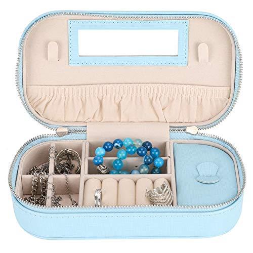 Joyero, Joyero de PU portátil a prueba de polvo, Cierre con cremallera Pendientes Organizador de exhibición de anillo Bolsa de almacenamiento, Apto para todos los objetos pequeños(Azul claro)