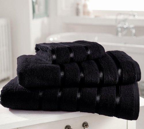 Serviette de toilette en coton égyptien extra doux 600 g/m² Kensington à rayures satinées, noir