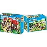 PLAYMOBIL Country 5221 Großer Reiterhof mit Paddocks, Ab 5 Jahren & 6928 Spielzeug, Grün