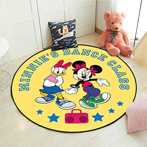 Alfombras Mickey Minnie Mouse Rug Play Mat Kids Crawling Juego Mat Redondo Sala De Estar Alfombra Inicio Bienvenido Soft Mat Regalo para Niñas Boys (Color : 06, Size : 80cm)