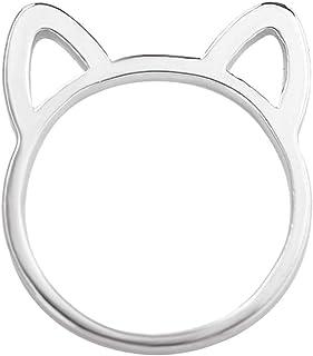 خواتم أصابع اليد بمفاصل أذن قطة مجوفة لطيفة للنساء من OccTop Fashion (لون فضي، 6)