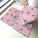 Bath Mat Sets, Pink Mushrooms U-Shape Bathroom Rugs Lid Toilet Cover 3-Piece Accessories with Rubber...