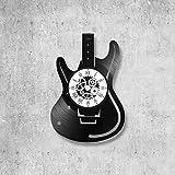 Horloge murale en vinyle 33 tours fait-main/thème guitare, musique, instrument, cordes