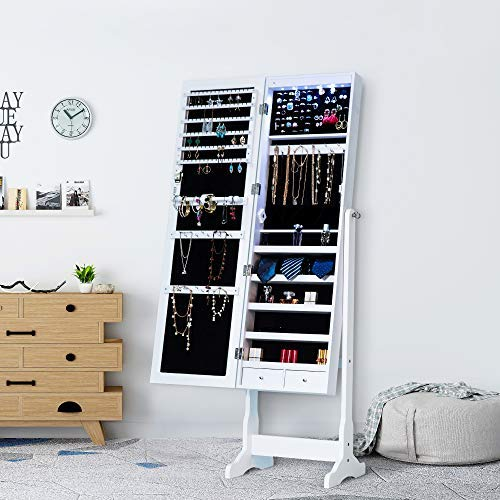 Homevibes Jewelry Cabinet Jewelry Armoire 6 LED Lights Mirrored Makeup Lockable Free Standing Full Length Floor Mirror Tilting Storage Jewelry Organizer 2 Drawers, White
