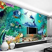 カスタム壁紙3D水中世界背景壁画リビングルーム寝室壁紙装飾壁壁画,200(W)×140(H)Cm