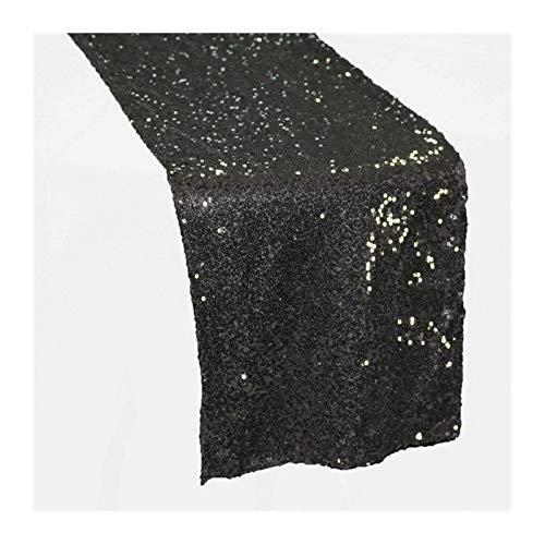 MUZIWENJU 1 Glänzende Gold Pailletten Tischläufer for Hochzeitsfeier Weihnachten Tuch Dekoration (Farbe : Schwarz, Größe : 30cmX180cm)