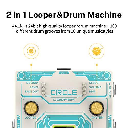 Donner Circle Looper Pedal de Efecto de Guitarra con Barra de Progreso de Tiempo Pantalla Drum Machine