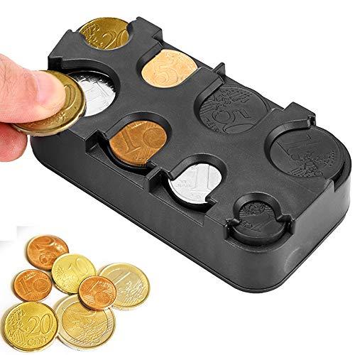 PopHMN Car Coin Holder Case, Coin Storage Box, Car Interior Coin Container Dispenser Organizer (for Euro Coins)