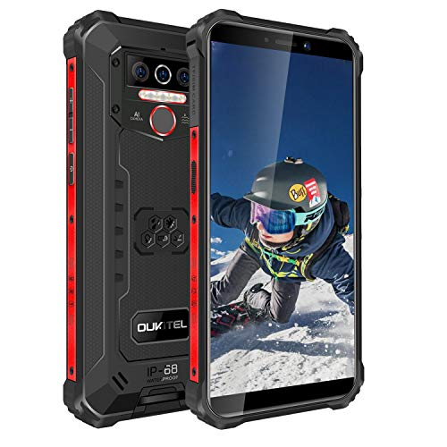 Rugged Cell Phones Unlcoked, OUKITEL WP5 8000mAh Battery Android 10 Unlocked Cell Phones IP68 Waterproof,Global Version Face ID Fingerprint,Black