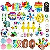 Wuawtyli 44 PCS Fidget Toy Pack Barato, Pack Fidget Toys con Simple Dimple para Aliviar El EstréS Y La Ansiedad, Hot Toys Fidget Toys Set De Juguetes Sensoriales para NiñOs y Adultos