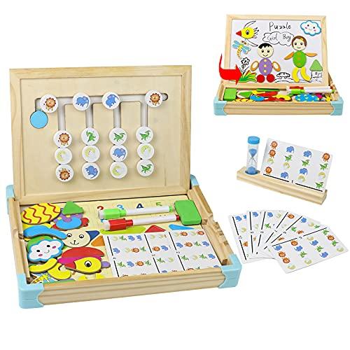 Juguetes Montessori de Madera 2 En 1 para Niños con Pizarras Magneticas Infantiles,Tarjeta Modelo y Reloj de Arena Regalos Juegos Educativos Juguetes para Niños 3 4 5 6 Años