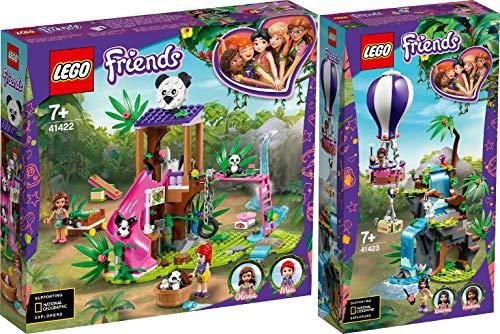 Steinchenwelt Friends 2er Set: 41422 Panda-Rettungsstation + 41423 Tiger-Rettung mit Heißluftballon