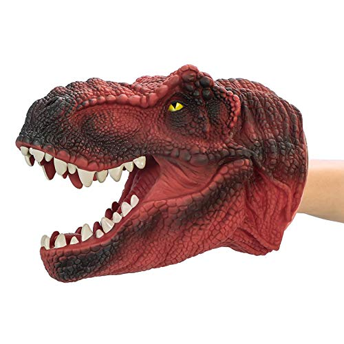 COGO MAN Dinosaur Hand Puppet , Red T Rex Toys Dinosaur Puppet Rubber | Realistic Tyrannosaurus Rex Head | Lifelike Hand Puppet Toys | Halloween Decorations Toys Gifts for Kids and Adults