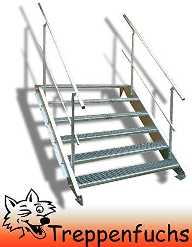 6 Stufen Stahltreppe mit beidseitigem Geländer / Breite 100 cm Geschosshöhe 90-120cm / Robuste Außentreppe / Wangentreppe / Stabile Industrietreppe für den Außenbereich / Inklusive Zubehör
