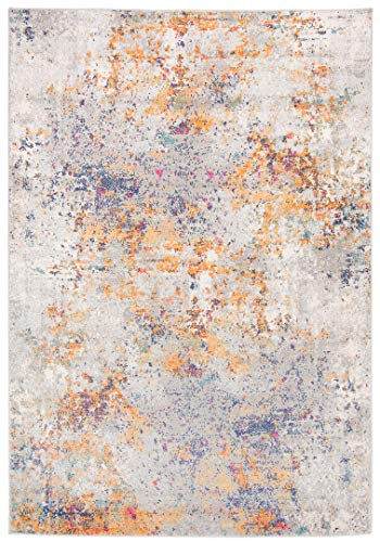 Venus - Alfombra moderna degradada y brillante para salón, dormitorio, salón, efecto carving, gris, naranja, azul, fucsia, G029D (80 x 150 cm)