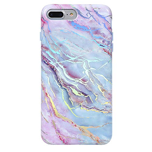Velvet Caviar for iPhone 8 Plus Case & iPhone 7 Plus Case Marble for Women & Girls - Cute Protective Phone Cases [Drop Test Certified] (Pink Iridescent Holographic Blue)