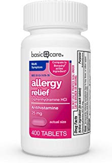 Basic Care Allergy Relief Diphenhydramine Hcl Tablets, 400Count