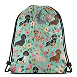 BXBX Plegable Drawstring Backpack Bag Sport Gym Sackpack Cinch Bag for School Yoga Gym Swimming Travel Unisex - Doxie Dachshunds Florals