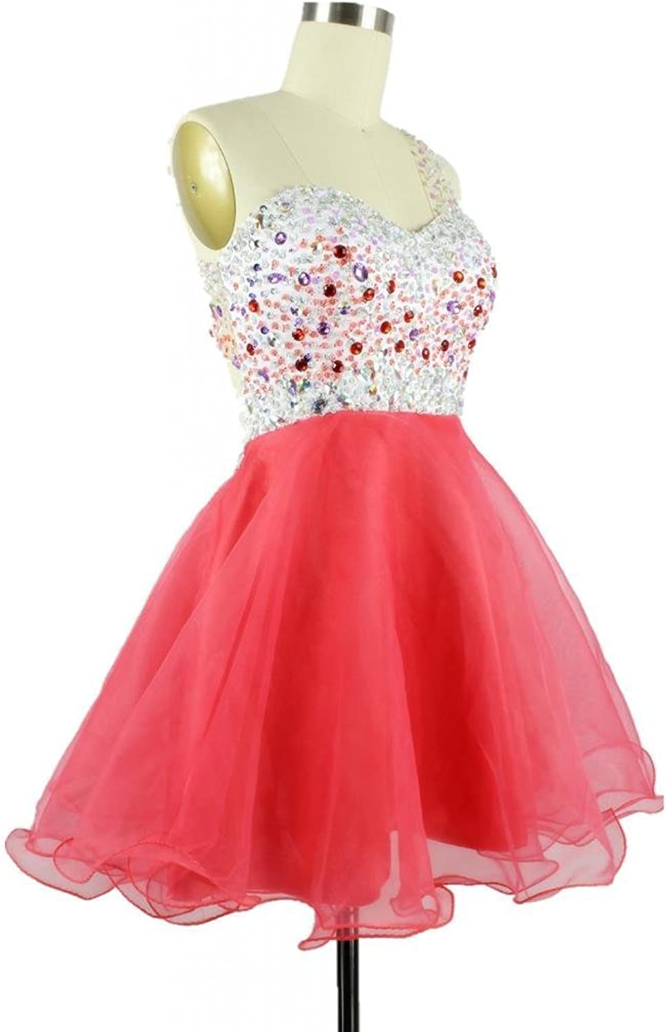 CharmingBridal A Line One Shoulder Beaded Short Prom Dress Mini Cocktail Party Dress