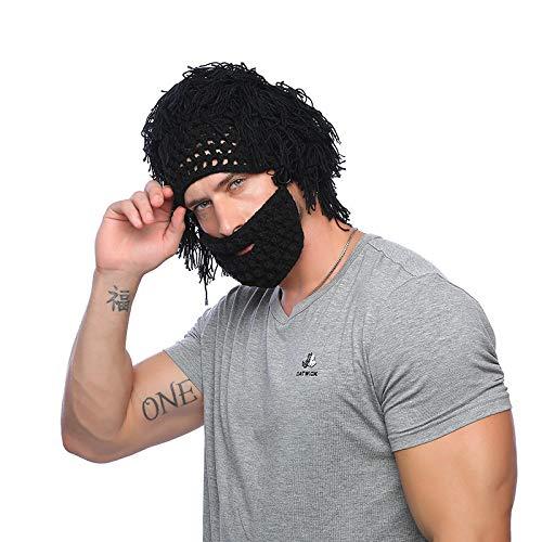 ERKEJI Homme Chapeau Tricot Crochet de Main Bonneterie Chapeau Hommes Hiver drôle créatif Barbe Perruque Chapeau Outdoor Ski Laine