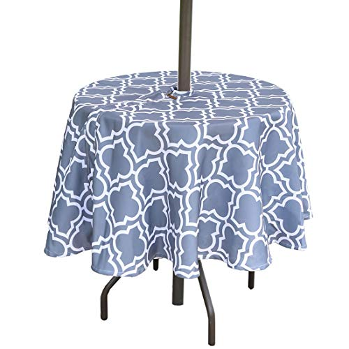 "Eternal Beauty 60"" Round Tablecloth Spillproof Polyester Printed Tablecloths with Zipper Umbrella Hole for Patio Outdoor Table(Gray Plaid)"